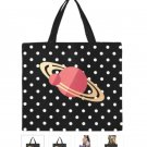 POLKA DOT & PLANET Print Canvas Tote Bag - M1699