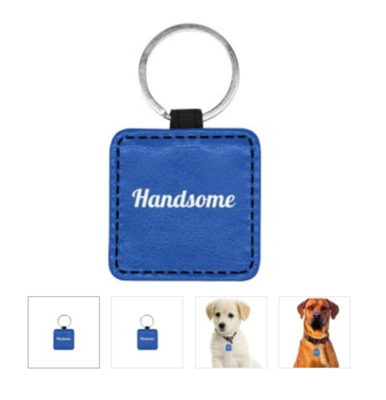HANDSOME Print Square Pet ID Tag or Key Chain