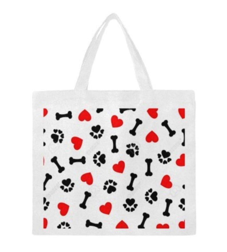 # 1702 PAWS BONES HEART  Canvas Tote Bag