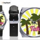 Tahiti Palms Unisex Silver-Tone Round Leather Watch - M216