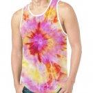 Pink Batik Dye Print Tank Top for Men - M T46