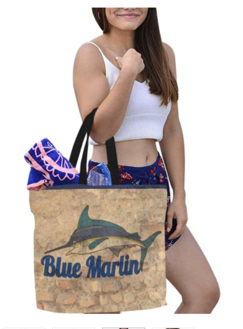 Large Blue Marlin Brick Print Canvas Tote Bag - M1699