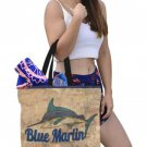 Large Blue Marlin Brick Print Canvas Tote Bag - M1699