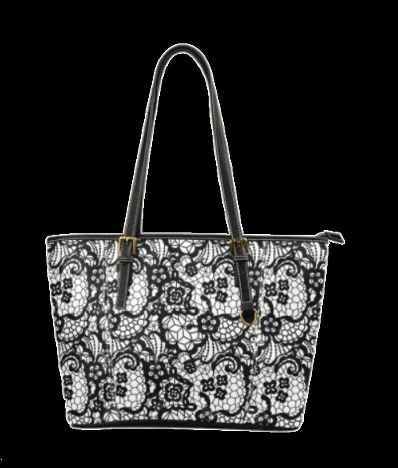 M 1640 Small / Black Lace Leather Tote Bag
