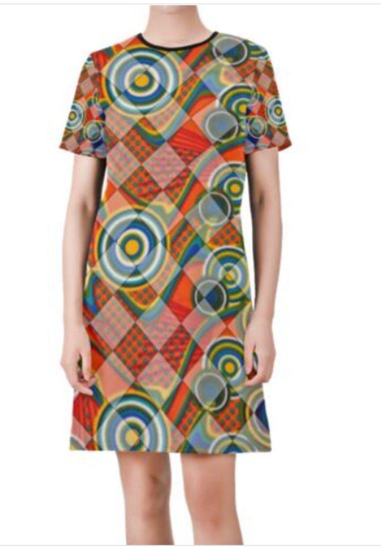 Hannah Print Short-Sleeve Round Neck A-Line Dress - M D47