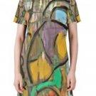 Art Night Print Short-Sleeve Round Neck A-Line Dress - M D47