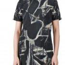 Granite Print Short-Sleeve Round Neck A-Line Dress - M D47