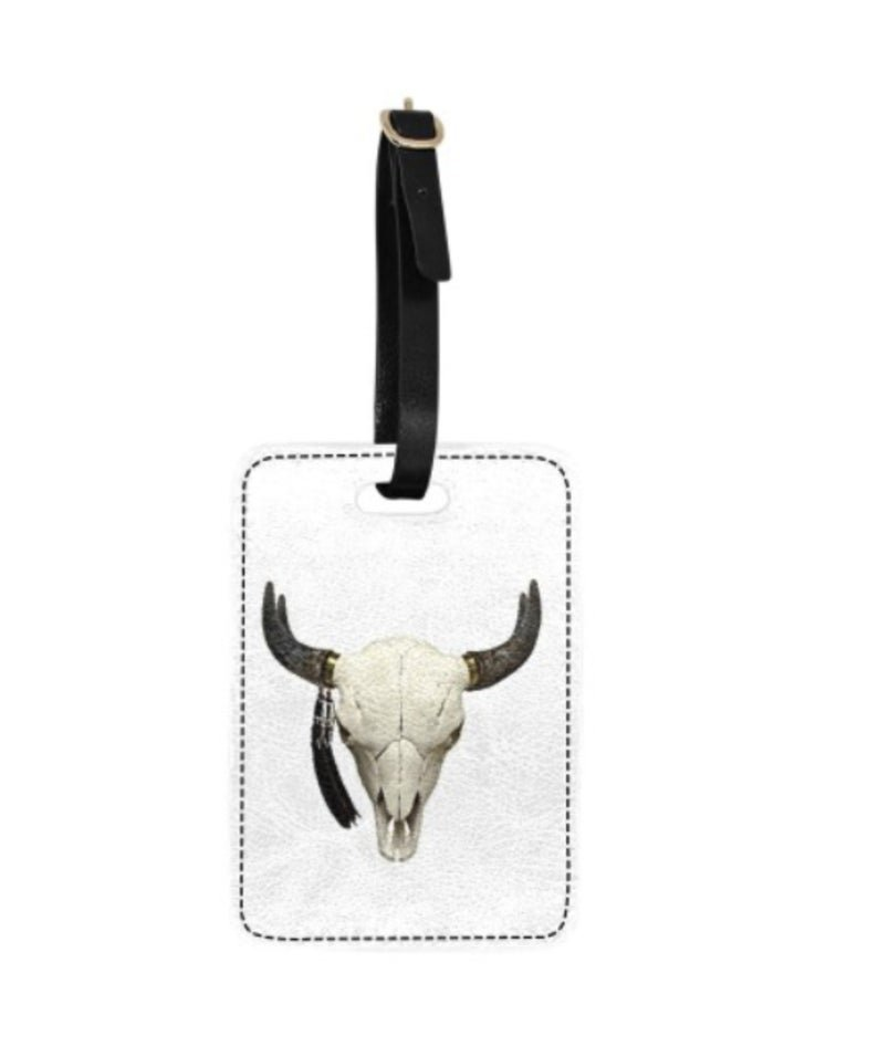 Cattle Skull Print Luggage Tag
