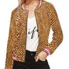 Women's Tan Snake Skin Print Bomber Jacket - M H21