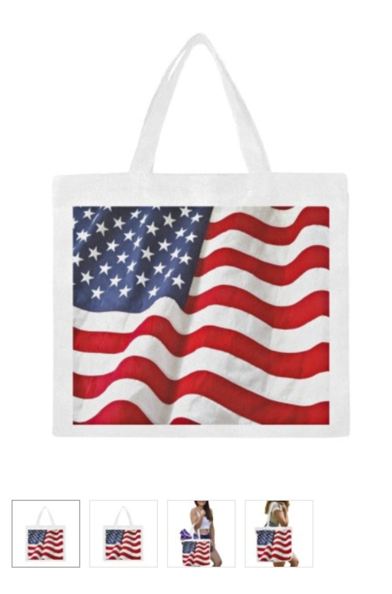 Large U.S. Flag Canvas Tote Bag - M1702