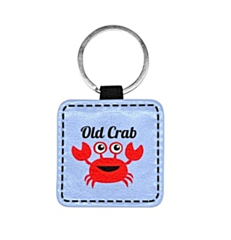 Old Crab Blue Print Square Pet ID Tag or Key Chain