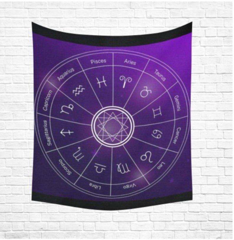 "Astrology Zodiac Backdrop Cotton Linen Wall Tapestry 60""x 51"""