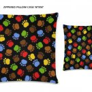 """Furry Friends Zippered Pillow Case 16""""x16""""/ Printed both sides"""