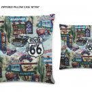 "Route 66 Zippered Pillow Case 16""x16""/ Printed both sides"