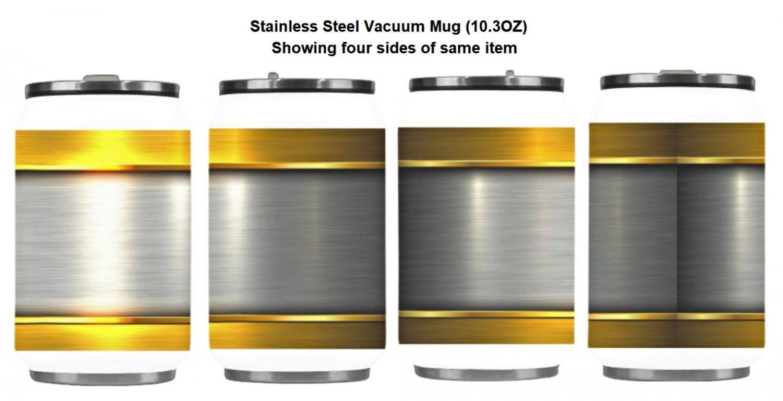 Gold Silver Metal Print Stainless Steel Vacuum Mug (10.3OZ)