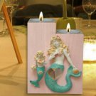 Pair of Mermaids Wooden Candle Holder