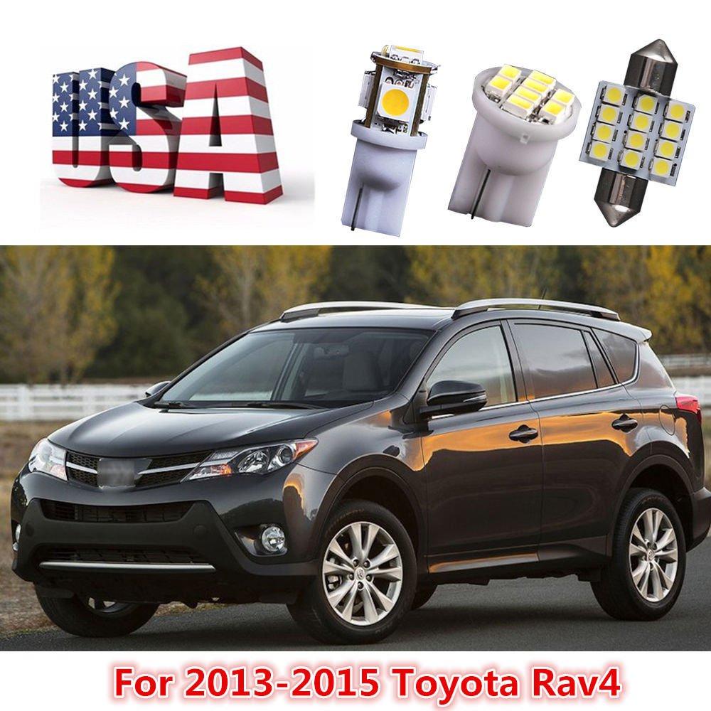 11Pcs White LED Dome Lights Interior Package Deal Kit For 2013 14 15 Toyota Rav4