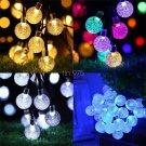 SOLAR Garden LIGHTS STRING FAIRY 30 LED Globe Ball WEATHERPROOF 4 COLORS