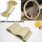 "New Premium Beige Genuine Leather Steering Wheel Cover 38cm 15"" For Car Volvo"