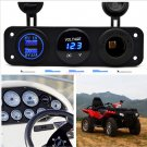 12V Dual Port USB Charger Socket Car Boat Blue LED Voltmeter 3 Hole Panel Outlet