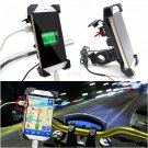 """Universal Motorcycle Bike ATV 3.5-7"""" Cell Phone GPS Mount Holder w/ USB Charger"""
