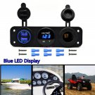 12V Dual USB Charger Socket & LED Voltmeter 3 Hole Panel Outlet Car Boat Marine