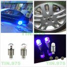 4 x Blue Car Tire Tyre Wheel Dust Stems Air Valves Caps Stem LED Lights Cover