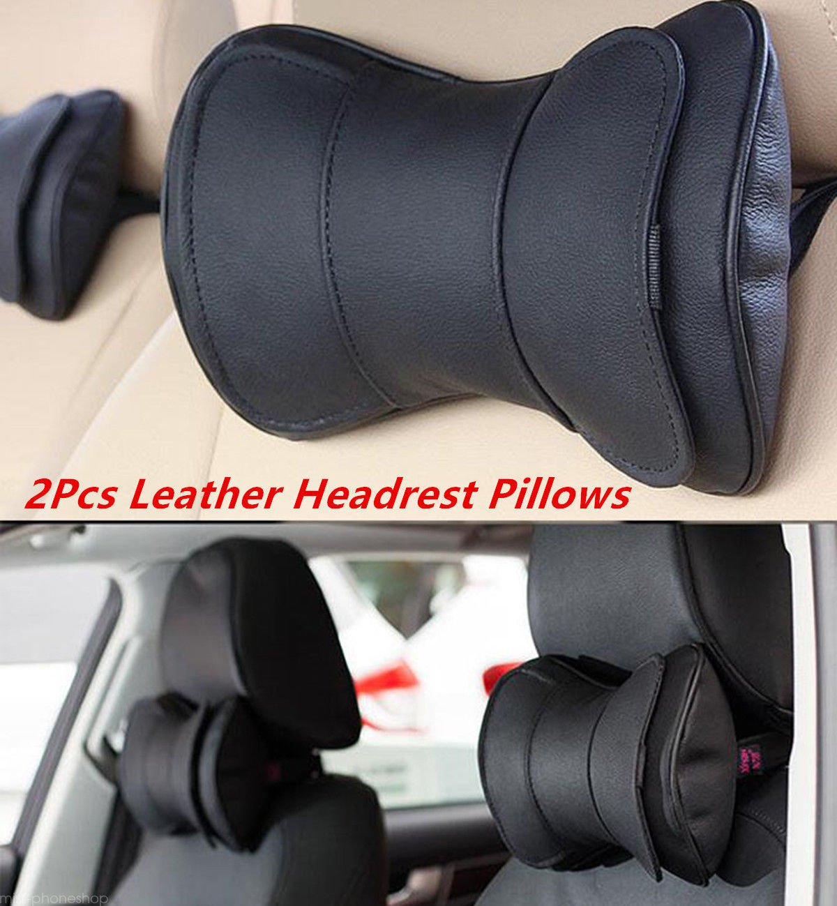 Black Leather Auto Car Neck Rest Cushion Headrest Pillow Mat 2pcs