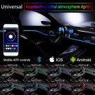 6M RGB LED Car Interior Neon EL Strip Light Sound Active Bluetooth Phone Control