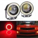 2pcs 2.5'' High Power Projector LED Fog Light w/Red COB Halo Angel Eye Rings