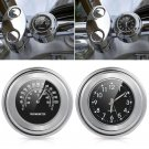 "7/8"" 1"" Motorcycle Accessory Handlebar Mount Clock Watch Thermometer For Aprilia"