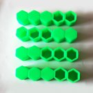 19mm Car Truck Wheel Tyre Centre Hub Screw Lug Bolt Green Rubber Caps Combo 20pc