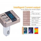 3 Port USB Rapid Car Charger Cigarette Lighter Volmeter with LED Display