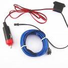 New 2M 12V Blue LED Light Glow EL Wire String Strip Rope Tube Car Interior Decor