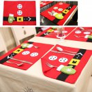 1PCS Red Christmas Stockings Placemats Table Mats Christmas Decorations Ornament
