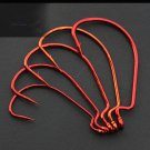 100pcs Offset Red Soft Worm Jig Fishing Lures Wide Gap Pike Perch Multi-Sizes