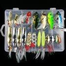 21pcs Metal VIB Fishing Lures Bass Crankbait Rattles Spoon Sinking Hook Tackle