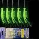 6pack  dark Baits Glowing Sabiki 5 Shrimp Rigs 6pack Fishing Lures Sea Bass