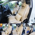 US M Size Car SUV 5-Seat PU Leather Seat Covers Front+Rear+Pillows Beige Set EGD
