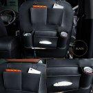 Black PU Leather Car Back Seat Tidy Organiser Multi-Pocket Holder Storage Cover