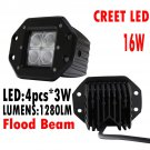 "Top 1x 5"" 16W Flush mount LED light Flood Beam offroad Jeep Wrangler POD Truck"