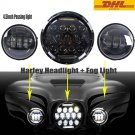 """7"""" 75W Phillips Round LED Headlight & 2PCS Passing Lights For Harley Motorcycle"""