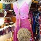 Straw Bags Women Girls Circle Round Corn Straw Beach Shoulder Handbags