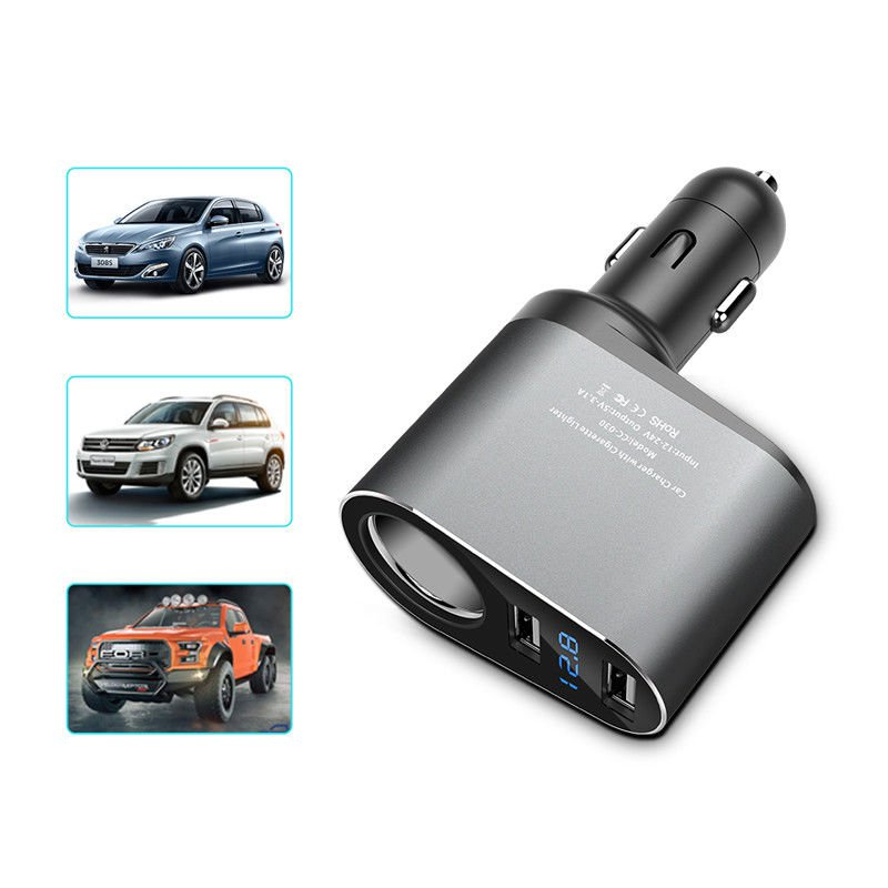 5V/3.1A Universal LED Dual USB Car Charger for iPhone X 8 7 6 Xiaomi Alloy Car