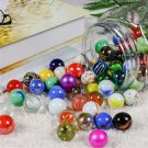 Set of 88 Glass Marbles In A Iron Gift Box Colourful Vintage 16mm Toys Classic