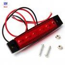 1PC 12V Trailer 6 LED Indicators Light Truck Boat  BUS Side Marker RV Lamp Red
