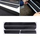 4Pcs Black 3D Carbon Fiber Car Door Sill Scuff Plate Cover Anti Scratch Sticker