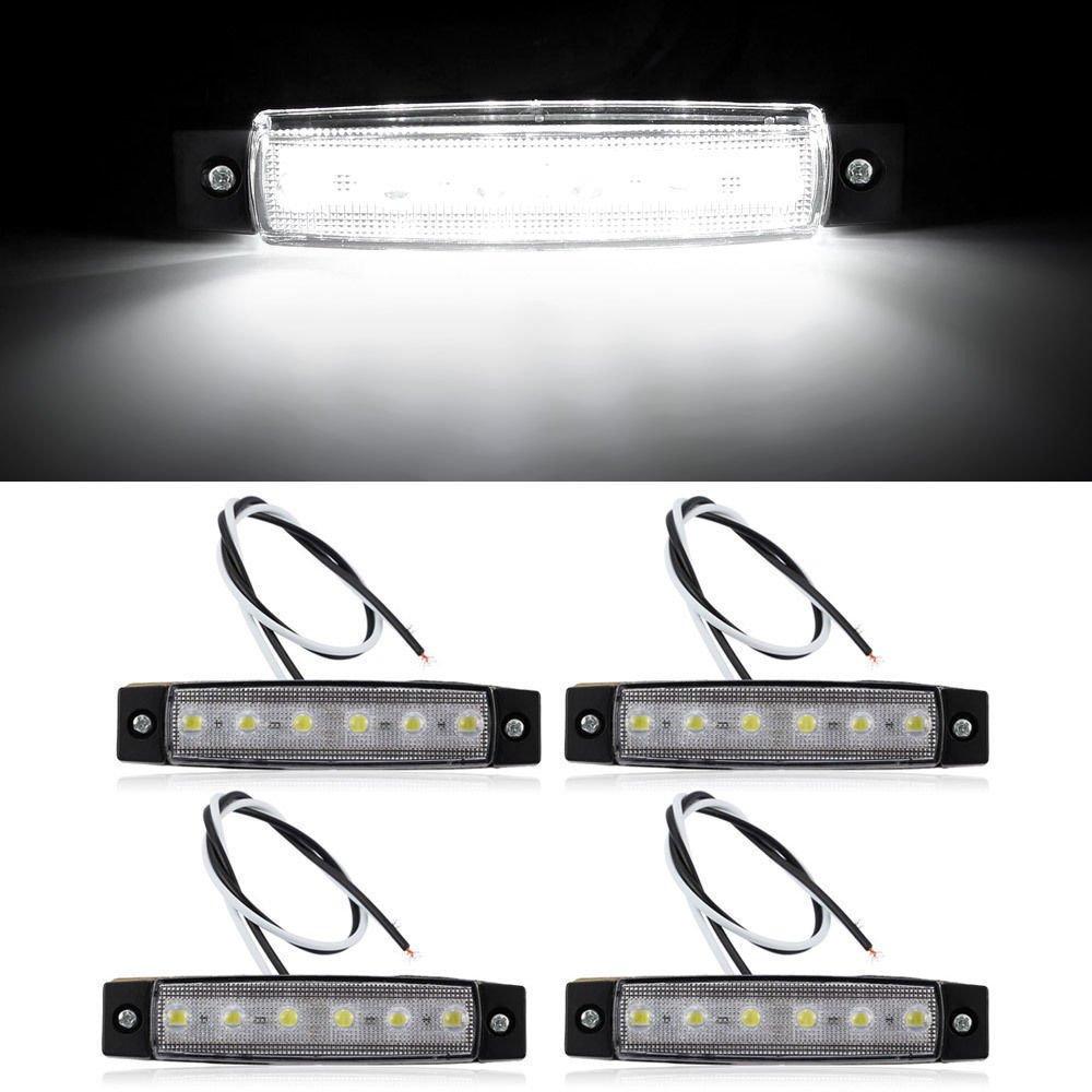 4X 6 LED Car Van Truck Boat Trailer Side Marker Indicators Lights Lamp White 12V