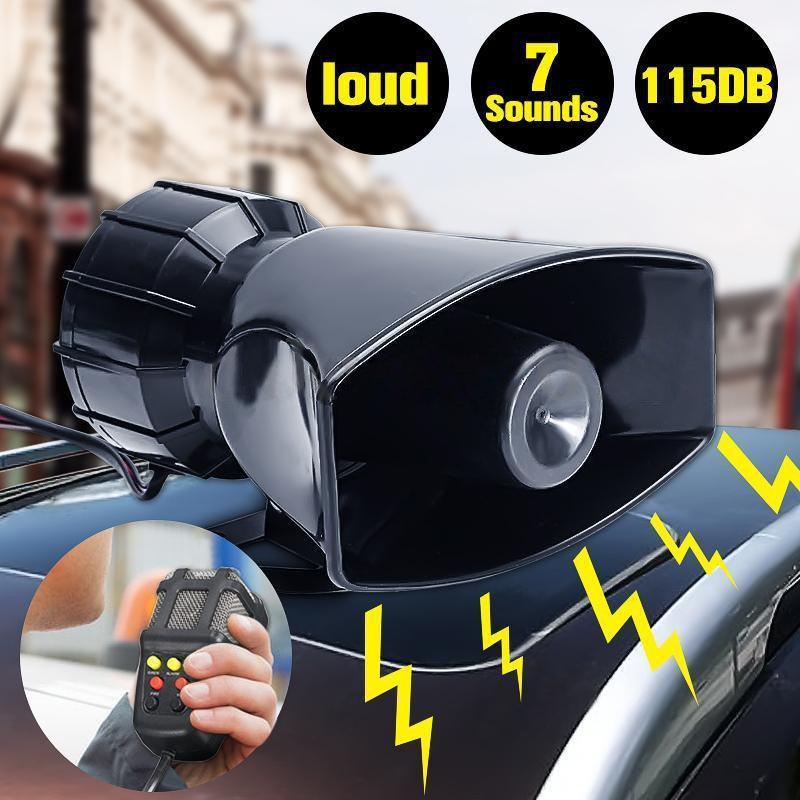 12V Loud Air Horn Siren for Car Boat Van Truck 7 Sounds PA System + Mic 115db