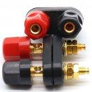 Black Connector Adapter Dual Audio Plug Terminal Banana Jack Speaker Amplifier